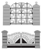 Silhouette of old street gates — Stock Vector