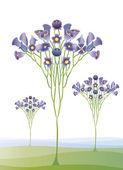 Mor çiçekler vektör ile soyut ağacı — Stok Vektör