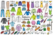 Fashion and clothing color icons vector collection — Stock Vector