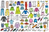 Moda e roupas de cores ícones vetor coleção — Vetorial Stock