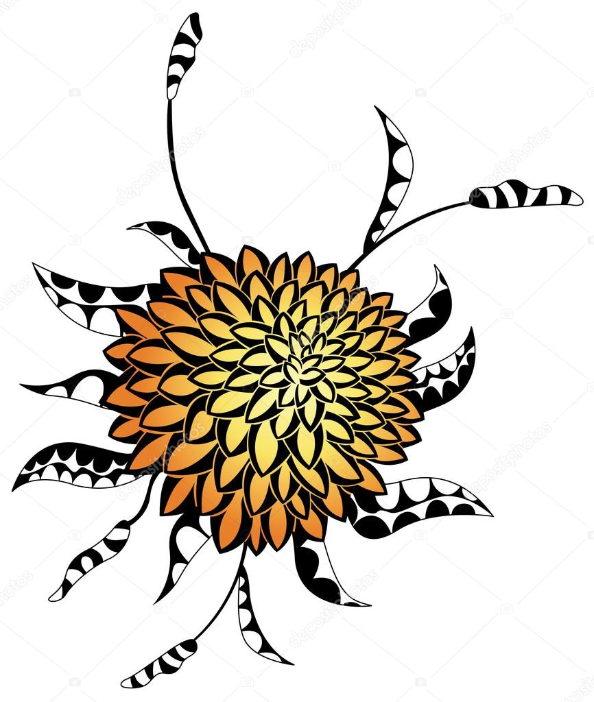 Abstract yellow flower with black and white leaves, vector  Stock Vector #13155114