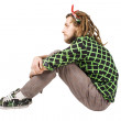 Young dreadlock man sit - Stock Photo