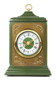 Old antique clock brown and green color isolated on white — Stock Photo