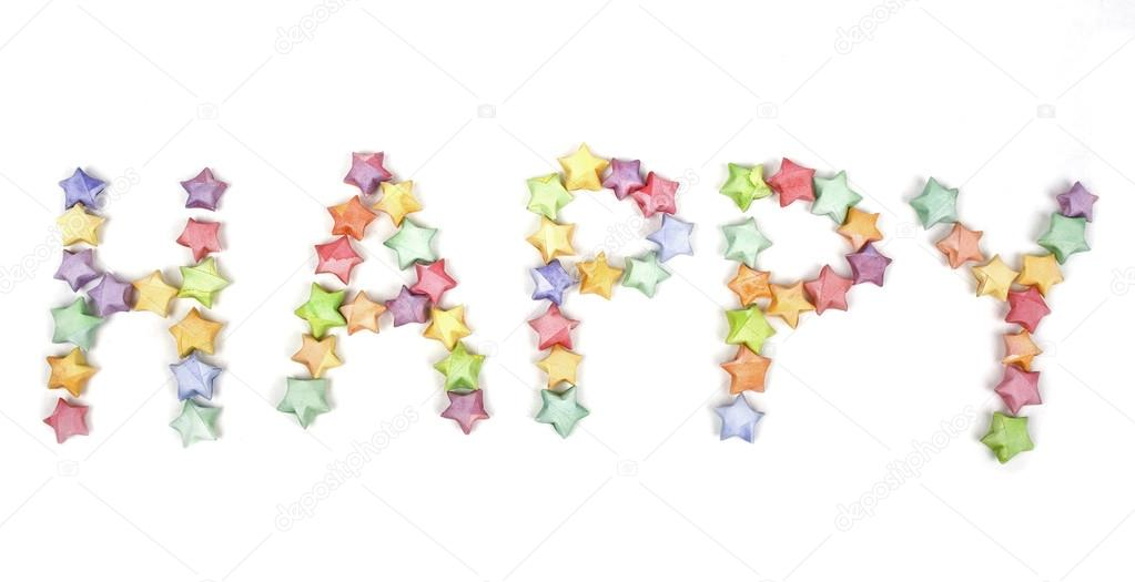 Many multicolored origami happy stars in word happy — Stock Photo #13270681