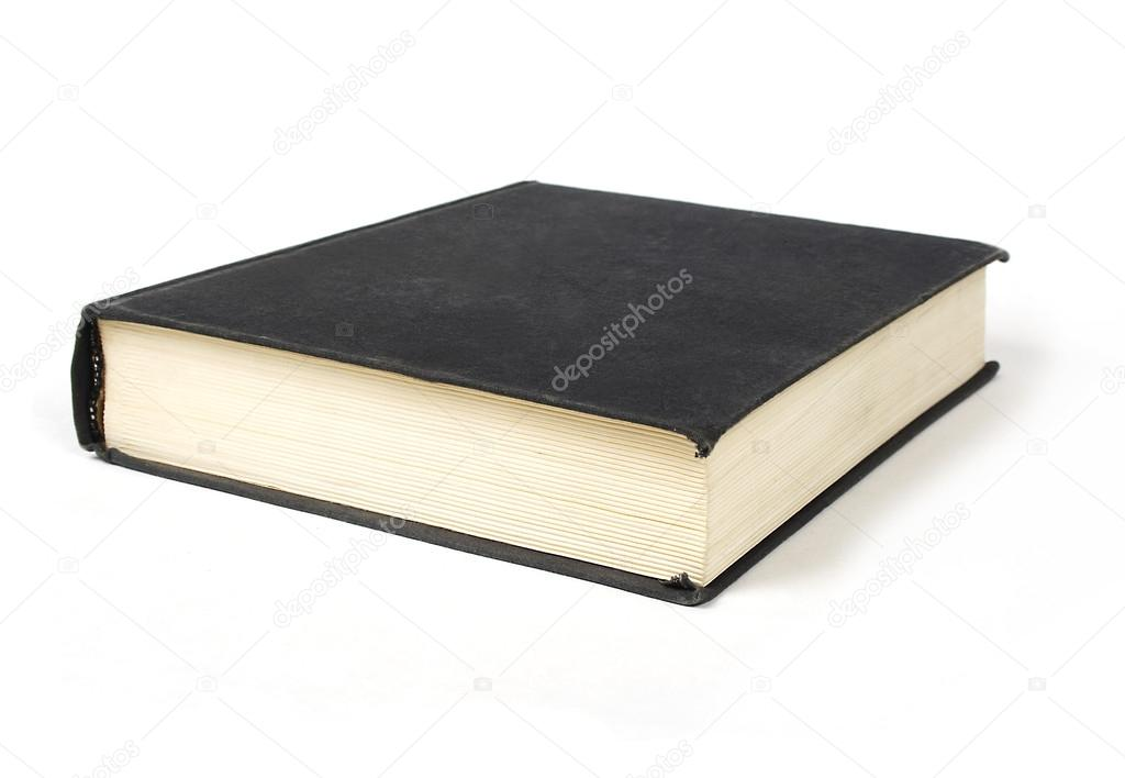 Book Cover Black Xl : Big book with black cover isolated on white — stock photo