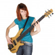 Stock Photo: Young beauty redhead girl playing bass guitar, half body, isolat