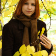 Young redhead girl in warm clothes holding branch of autumn tree — Stock Photo