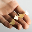 Human holding little paper cutout birds, nature protect concept — Foto Stock