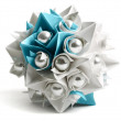 White and blue paper origami ball with pearl, decor element, iso — Stock Photo