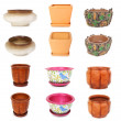Many flowerpots from different viewpoints, isolated — Stock Photo