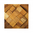 Wooden square figures assemble in puzzle isolated — Stock Photo