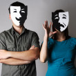 Man and woman in theater black and white emotions masks, half bo — Stock Photo