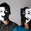 Stock Photo: Mand womin theater black and white emotions masks