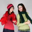 Portrait of two young girls in warm scarfs and hats standing and — Stock Photo