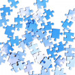 Blue puzzle pieces, isolated — Stock Photo