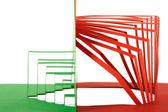 抽象的绿色和红色纸木刻条纹组成和 — 图库照片