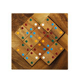 Wooden square figures with color dots assemble in puzzle isolate — Stock Photo