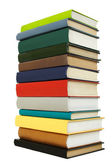 Big stack of books in hard cover, view from back, isolated — Stock Photo