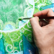 Closeup of mpainting green picture with circle pattern, manda — Stock Photo #14762913