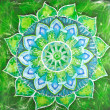 Постер, плакат: Abstract green painted picture with circle pattern mandala of a