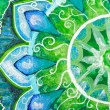 Постер, плакат: Closeup of bright green painted picture with circle pattern man