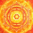 Abstract orange painted picture with circle pattern, mandala of - Stock Photo