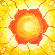 Closeup of bright orange painted picture with circle pattern, ma — Stock Photo