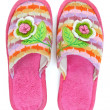 Royalty-Free Stock Photo: Pair of pink female house slippers with knitted decorative flowe