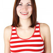 Royalty-Free Stock Photo: Young brunette woman in red and white striped shirt smiling, iso