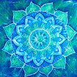 Постер, плакат: Abstract blue painted picture with circle pattern mandala of vi