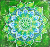 Abstract green painted picture with circle pattern, mandala of a — Stock Photo