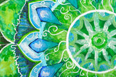 Closeup of bright green painted picture with circle pattern, man — Foto de Stock