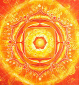 Abstract orange painted picture with circle pattern, mandala of — Stock Photo