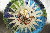 Mosaic on ceiling of hypostyle room, Park Guell, Barcelona, Spai — Stock Photo
