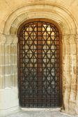 Puerta de madera vieja con forjado reticular — Foto de Stock
