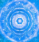 Abstract blue painted picture with circle pattern, mandala of vi — Stock Photo