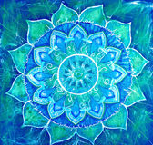 Abstract blue painted picture with circle pattern, mandala of vi — Stok fotoğraf