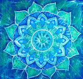 Streszczenie niebieski obraz malowany z kręgu wzór, mandali vi — Zdjęcie stockowe