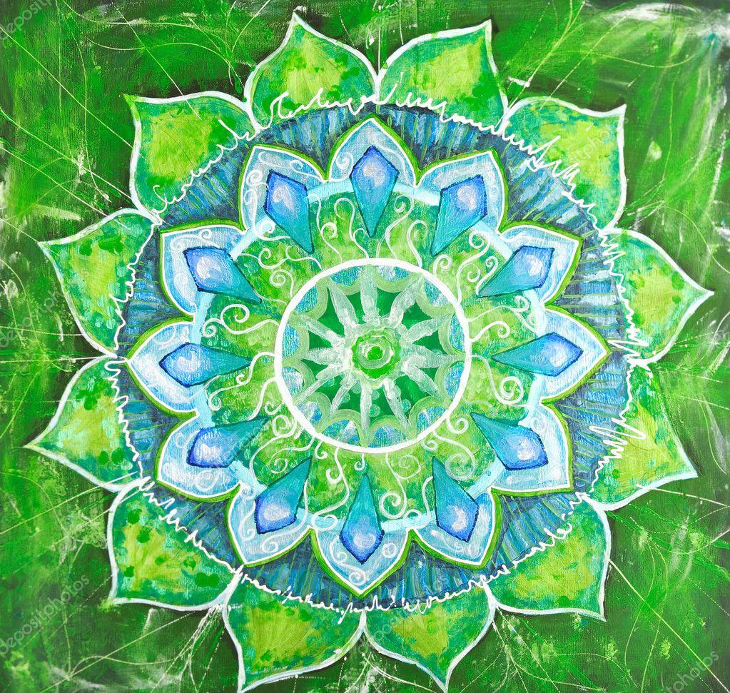 用曼陀罗的圆圈图案抽象绿色彩绘的图片