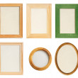 Many different wooden photo frames isolated — Stock Photo