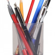Cup with pens and pencils isolated — Stock Photo