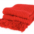 Red knitted scarf folded isolated — Stock Photo #14770627