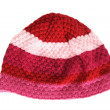 Knitted hat with red and pink stripes isolated — Stock Photo #14770673