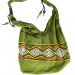 Green textile bag eastern style isolated — Stock Photo