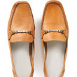 Stock Photo: Pair of female brown moccasins isolated