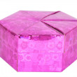 Stock Photo: Pink gift box hexagon shape isolated