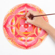 Stock Photo: Mhand painting abstract red picture with circle pattern, mand