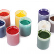 Bright gouache colors in cans isolated - Stock Photo
