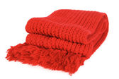 Red knitted scarf folded isolated — Stock Photo