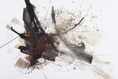 黑色和红色抽象画笔绘画 — 图库照片